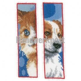 borduurpakket boekenlegger (2 st.) hond en poes