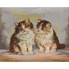 stramien + garenpakket, kittens (100% wol)