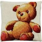 kruissteekkussen teddybeer