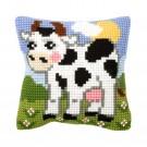 kruissteekwandkleed koe in de wei