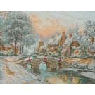 borduurpakket winterlandschap met bruggetje