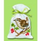 borduurpakket kruidenzakje, winterkoninkje