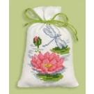 borduurpakket kruidenzakje, waterlelie met libelle