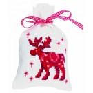 borduurpakket kruidenzakje, eland in kerstsfeer
