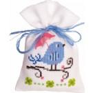 borduurpakket kruidenzakje, vogel/blauw