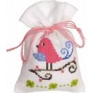 borduurpakket kruidenzakje, vogel/rose
