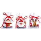 borduurpakket kruidenzakje (3 st.) kerstman, kerstuiltje en rendier