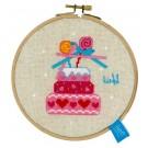 borduurpakket lief!, verjaardagstaart met strikjes (incl. borduurring)