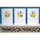 borduurpakket wenskaart (3 st.) gele met blauwe bloemen