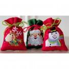 borduurpakket kruidenzakje (3 st.) kerstman, rendier en sneeuwpop