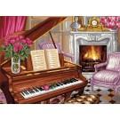 stramien + garenpakket, pianoscene met rozen
