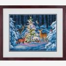 borduurpakket bos in kerstsfeer