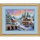 borduurpakket dorp in kerst/wintersfeer