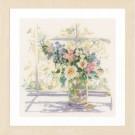 borduurpakket bloemen in zonlicht