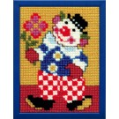 kruissteekwandkleed clown